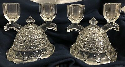 Vintage 2 Arm Etched Glass Candelabras