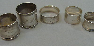 Set of 5 Different Antique 1800's Coin Silver Napkin Rings Beautiful Sterling