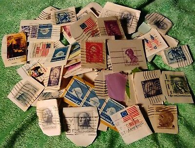Lot Of 101 Vintage US Postal Postage Stamps Ephemera Collection Paper Attached