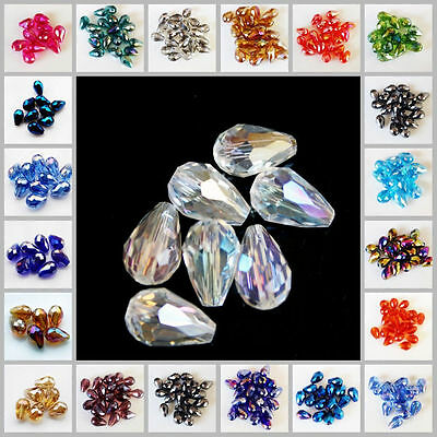 Hot Sale!8x12mm Teardrop Glass Faceted Loose Crystal Spacer Beads 33 Colors pick