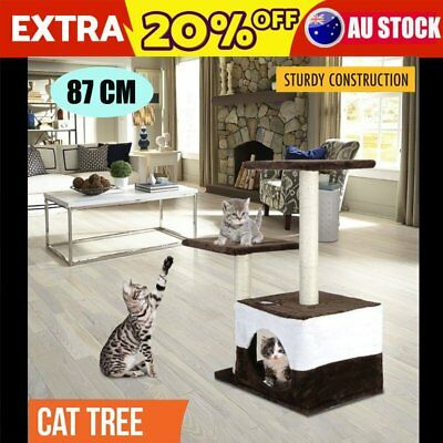 Pet Cat Scratching Tree Scratcher Pole Furniture Gym House Toy Small 70cm Brown