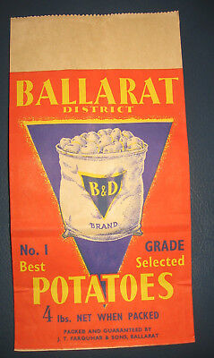 NOS.B&D Brand Ballarat District Potatoes Paper Bag Victoria J.T Farquhar & Sons
