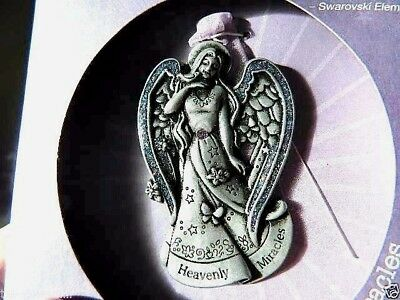Whispering Angels Pewter Christmas Swarovski Crystals Ornament Heavenly Miracles