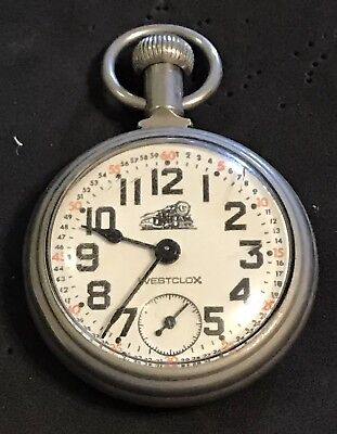 VTG WESTCLOX Steam Locomotive Conductors Wind Up Silver Tone Pocket Watch (#130)