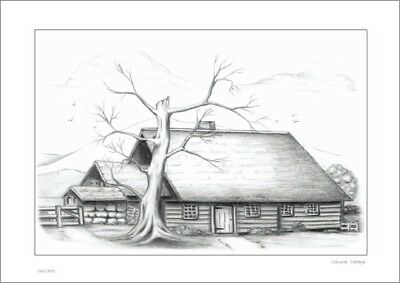 Colonial  Cottage      Country Drawing   Print   Limited Edition