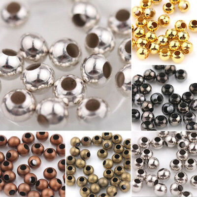 Gold Silver Plated Smooth Spacer Beads Jewellery Findings DIY Round Metal Ball