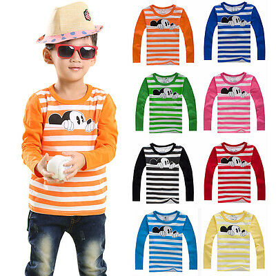 Kids Baby Boys Girls Mickey Mouse Long Sleeve Blouse T-Shirts Tee Striped Tops