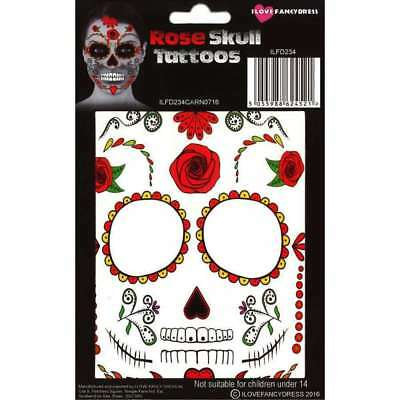 Day of The Dead ROSE SKULL TATTOO Transfer HALLOWEEN FANCY DRESS Face Make Up