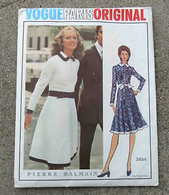 Original  1970s  Vogue Paris Original  Dress Pattern FF Uncut Pierre Balmain 32