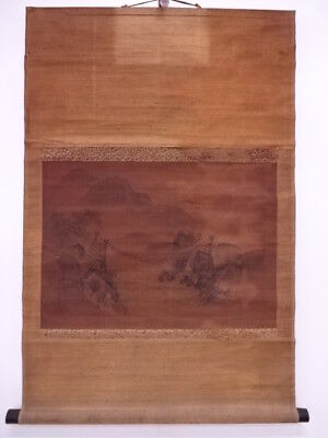 3818854: Japanese Wall Hanging Scroll / Hand Painted / Landscape With Bridge / A