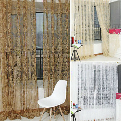 Retro Flocked Floral Voile Door Window Curtain Panel Sheer Tulle Drape Hot ZB