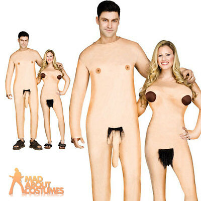 Adult Nudists Couple Costume Adam and Eve Fancy Dress Outfit Funny Naked Outfit
