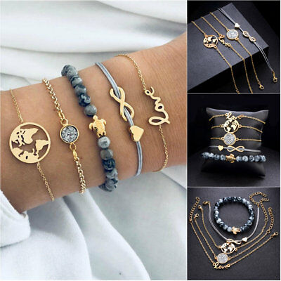 5PCS Turtle Map Heart Letter Love Bead Chain Multilayer Bracelet Set Jewelry