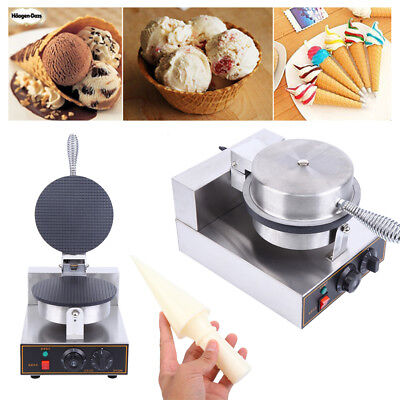 220V Electric Ice Cream Cone Waffle Baker Machine Nonstick Egg Roll Maker