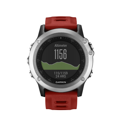 Garmin Fenix 3 Watch Sports GPS Running Activity Monitor Multisport - Silver/Red