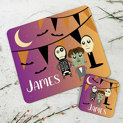 Personalised Kids New Halloween Characters Wooden Glossy Placemat and Coaster