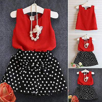 2PCS Kids Girls Polka Dot Skirt Dress Vest T Shirts Tops Summer Outfits Clothes