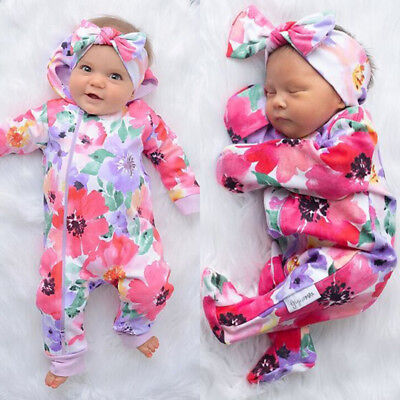 Newborn Baby Girl Flower Zipper Long Sleeve Romper Jumpsuit Outfit Clothes 0-24M
