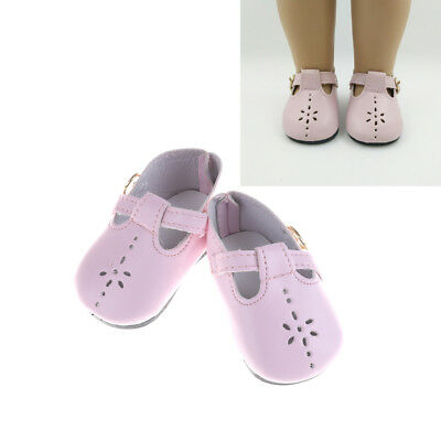 1 Pair Pink Leather Doll Shoes for 18 inch  Girl Dolls 43Cm Baby GT