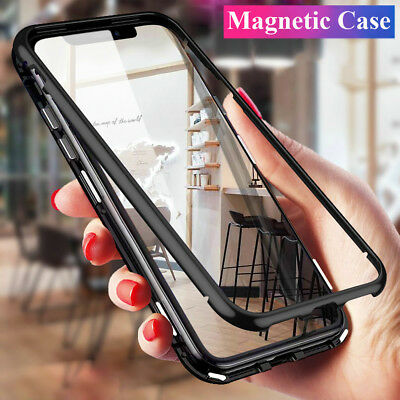 360° Magnetic Case for iPhone SE/5/5s Hybrid Metal Tempered Glass Cover+5D Film