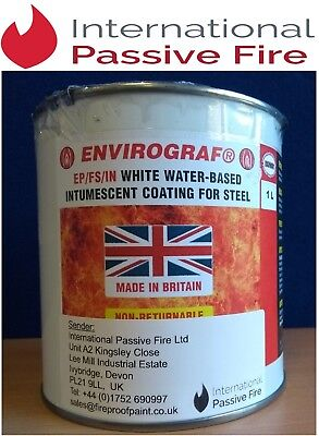 INTUMESCENT STEEL FIRE PROOF PAINT/COATING, WATER BASED  - 1 Litre