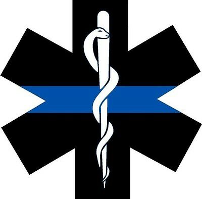 """Thin Blue Line Police EMS  """"Star of Life""""  Decal - Super Durable!  Ships FREE!!"""