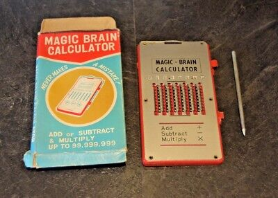 Vintage MAGIC BRAIN CALCULATOR - Made In Japan 1970's w/ Box and Stylus Retro
