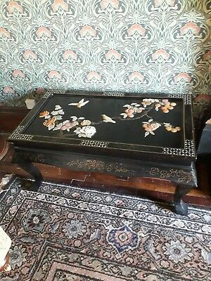 Vintage /Antique Black Lacquer Mother Of Pearl Inlay Coffee Table