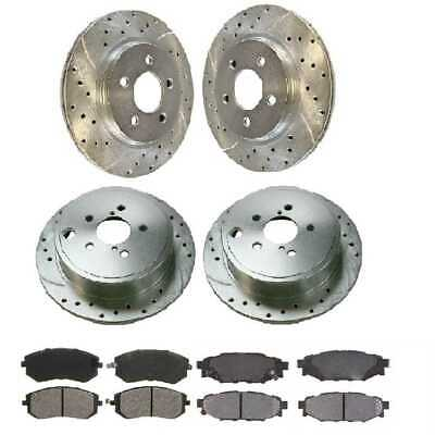 Front & Rear Performance Silver Rotors & Ceramic Pads fits 09-12 Subaru