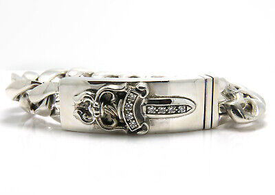 Chrome Hearts Diamond Dagger Id Bracelet Sterling Silver