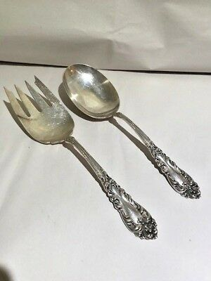 Vintage Amston Sterling Silver  Set of 2 Large Serving  Sterling Spoon & Fork