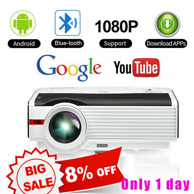 Rear Projection CAIWEI Android Bluetooth Home Theater Projector HD 1080p HDMI AV