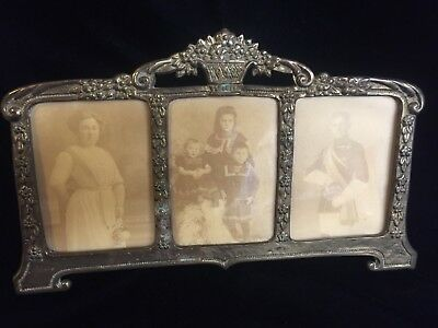 "Antique? Triple Picture Frame Silverplate Or Pewter? W. Germany 10.75"" X 6.25"""