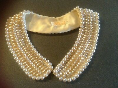 "Vintage Glentex Women's Faux Pearl Beaded Collar Necklace 1.5"" W Made in Japan"