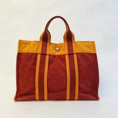 pre-loved authentic HERMÈS Fourre Tout small Canvas TOTE bag satchel