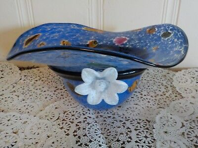 Murano Italy  Hand Blown Glass Large Blue Bowl Bow Hat Vase Vintage Art Glass