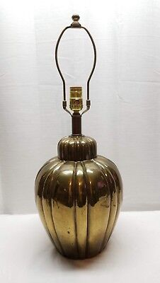 Vintage Hollywood Regency Brass Table Accent Lamp Gold Tone Light Metal 1960s