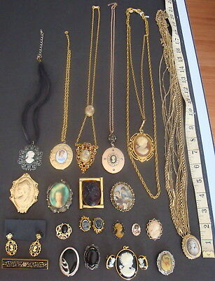 20pc CAMEO JEWERLY LOT NECKLACE EARRING BROOCH LOCKET PENDANT CHARM PIN COSTUME