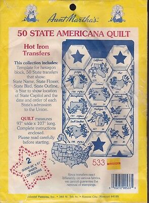 (New/Other) Aunt Martha's 50 STATE AMERICANA QUILT Hot Iron Transfers #533
