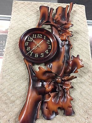 Leather & Wood Unusual Very Unique Wall Clock- Take A Look  This Real Beauty 39