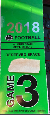 One (1) Penn State vs. Ohio State Reserved Numbered Parking Pass (Green)