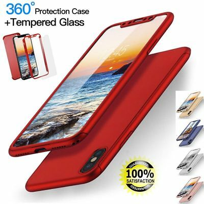 Hybrid 360° Shockproof Case Tempered Glass Cover For APPLE I PHONE 5 6 7 8 PLUS