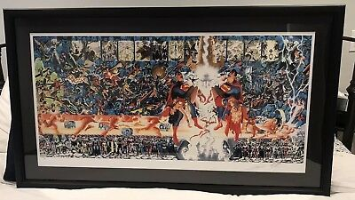 CRISIS ON INFINITE EARTHS GICLEE Framed AP 30/35 Alex Ross, George Perez Sigs
