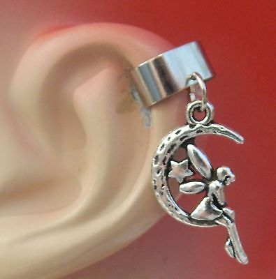 Fairy Ear Cuff Silver Moon Charm Drop Dangle Handmade Jewelry Wrap Earring