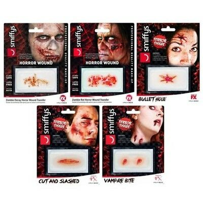 Smiffys Horror Ferita Transfer senza Lattice Protesi Professionale Make Up Safe