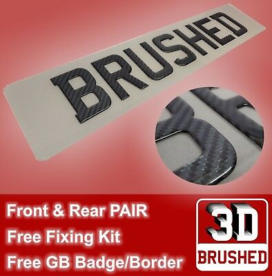 PAIR of Carbon Fibre BRUSHED Look Gel Domed Licence Number Plates Front & Rear