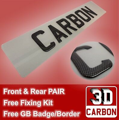 PAIR of Carbon Fibre Look Gel Domed Raised Licence Number Plates Front & Rear