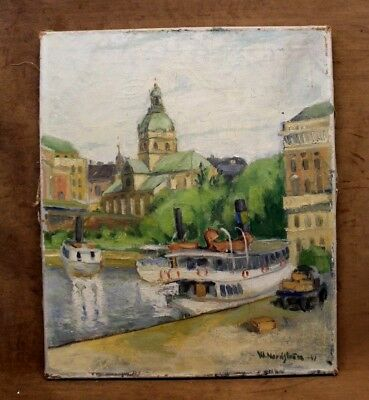 """Antique Oil Painting on Stretched Canvas """"Boats By The Dock"""" Signed & Dated 1941"""