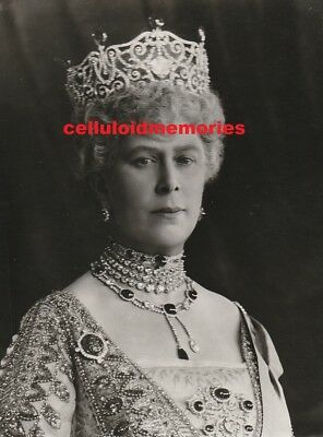 Original Vintage Press Photo HM Queen Mary In Crown & Jewels
