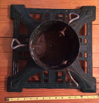 "Vintage 14"" Cast Iron Christmas Tree Stand Art Deco 6"" Stump ? John Wright"